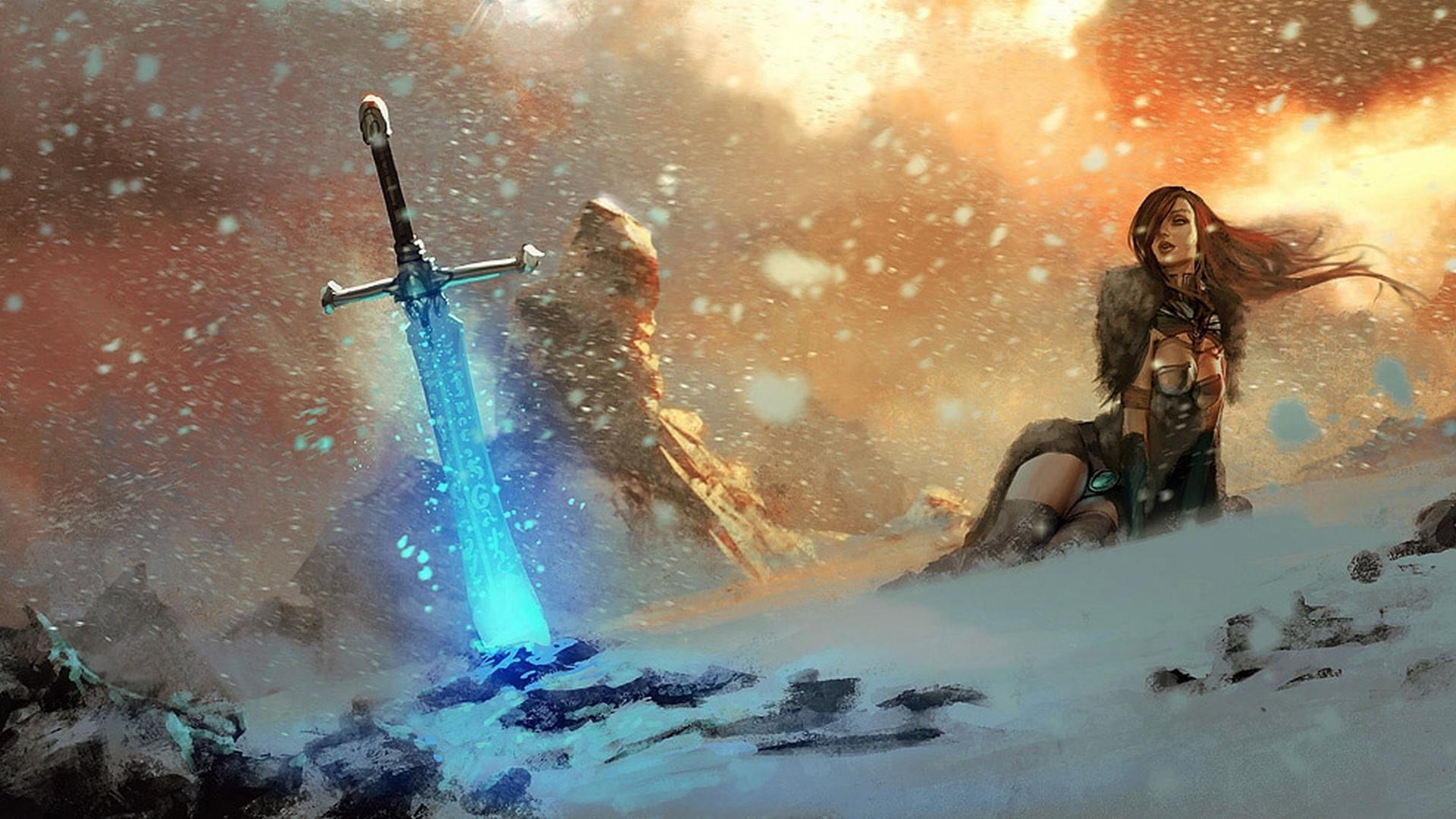 fantasy-art-magic-mountain-female-sword-wallpaper